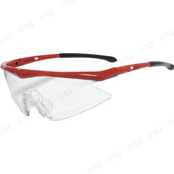 【取寄品】 TRUSCO 一眼型安全メガネ スポーツタイプ フレームレッド レンズクリア