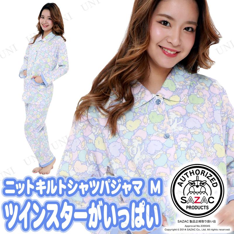 SAZAC(サザック) ツインスターがいっぱいニットキルトシャツパジャマ パープル M