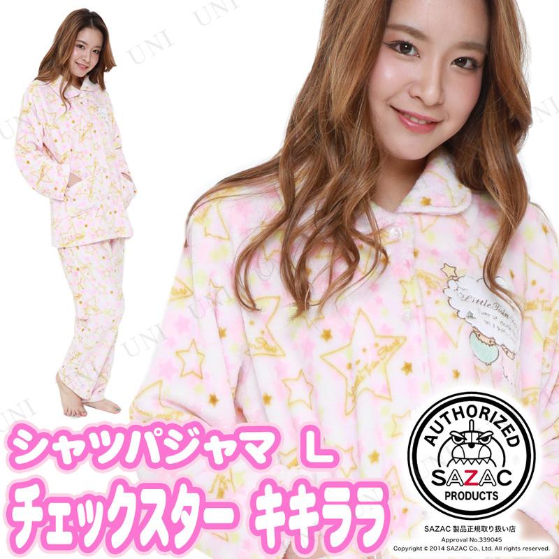 SAZAC(サザック) チェックスターキキララシャツパジャマ ピンク L