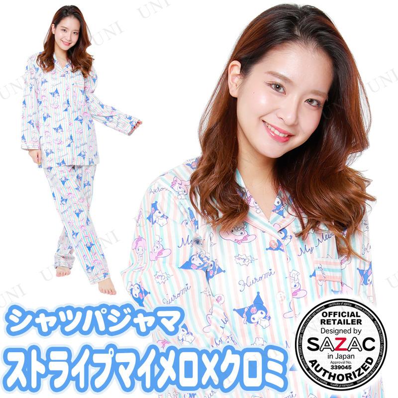 SAZAC(サザック) ストライプマイメロ×クロミシャツパジャマ ブルー レディスM〜L