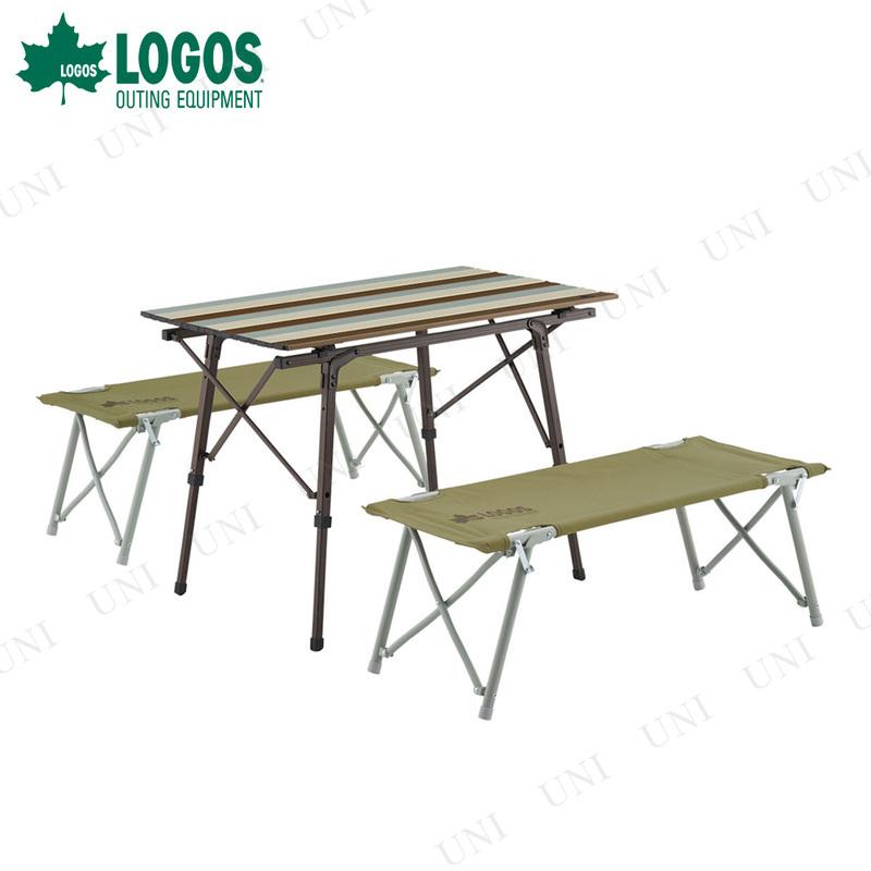 【取寄品】 LOGOS (ロゴス) Life オートレッグベンチテーブルセット4 ヴィンテージ