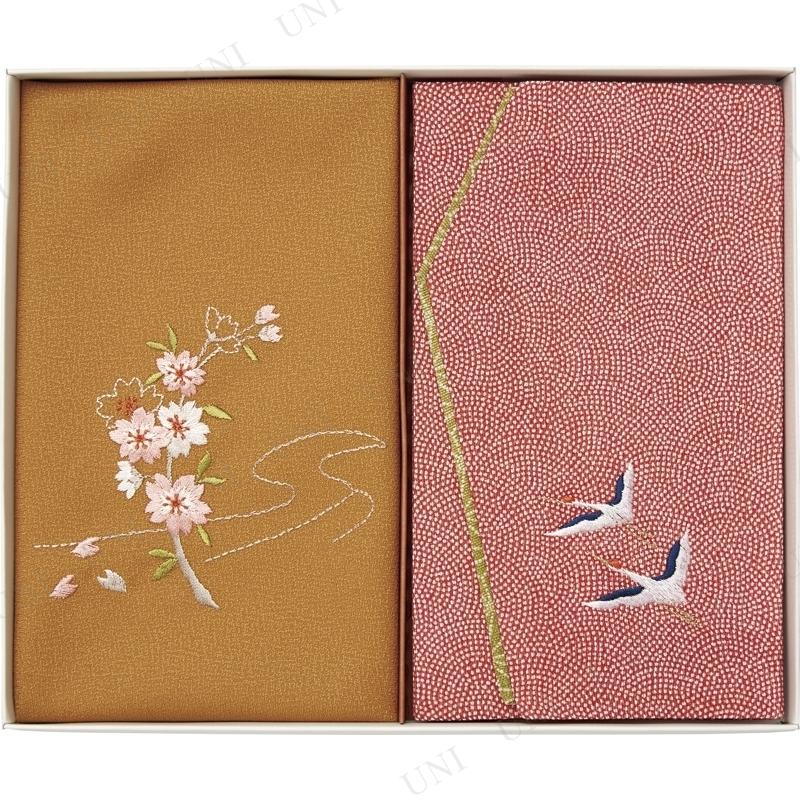 【取寄品】 洛北 刺繍入り金封包み&金封ふくさ 赤鶴