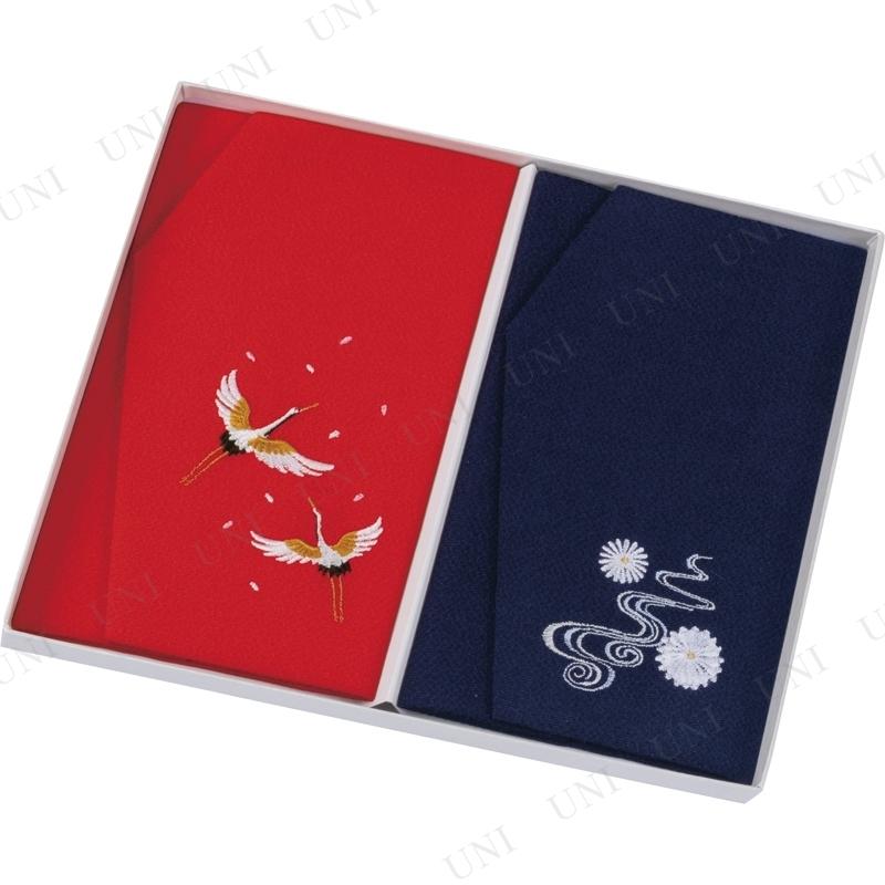 【取寄品】 正絹ちりめん刺繍金封ふくさ2Pセット