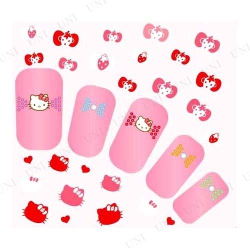 Pink House×キティ ネイルシール イチゴリボン