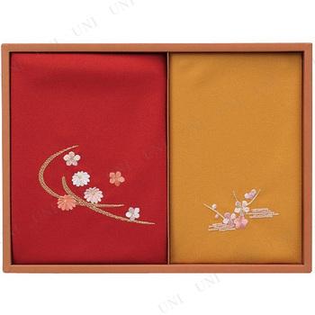 【取寄品】 洛北  刺繍入り二巾風呂敷&金封包み 赤/金茶