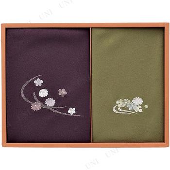 【取寄品】 洛北  刺繍入り二巾風呂敷&金封包み 紫/グレー