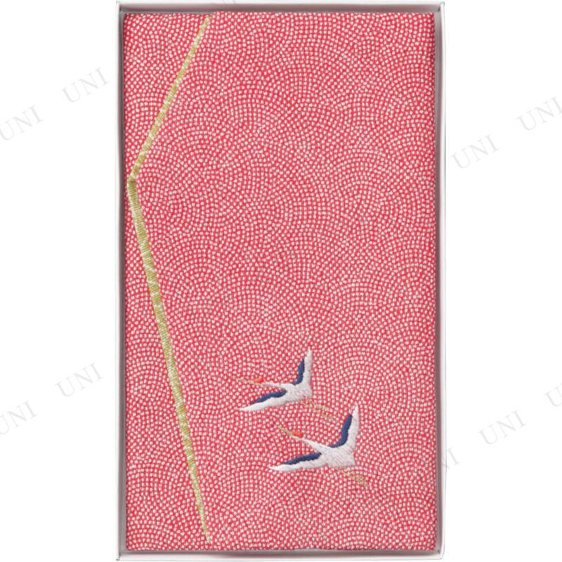 【取寄品】 洛北 刺繍入り金封ふくさ 赤鶴