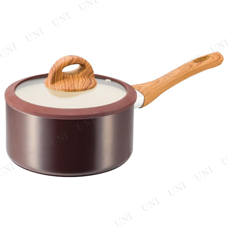 【取寄品】 木目調セラミックアルミ片手鍋18cm