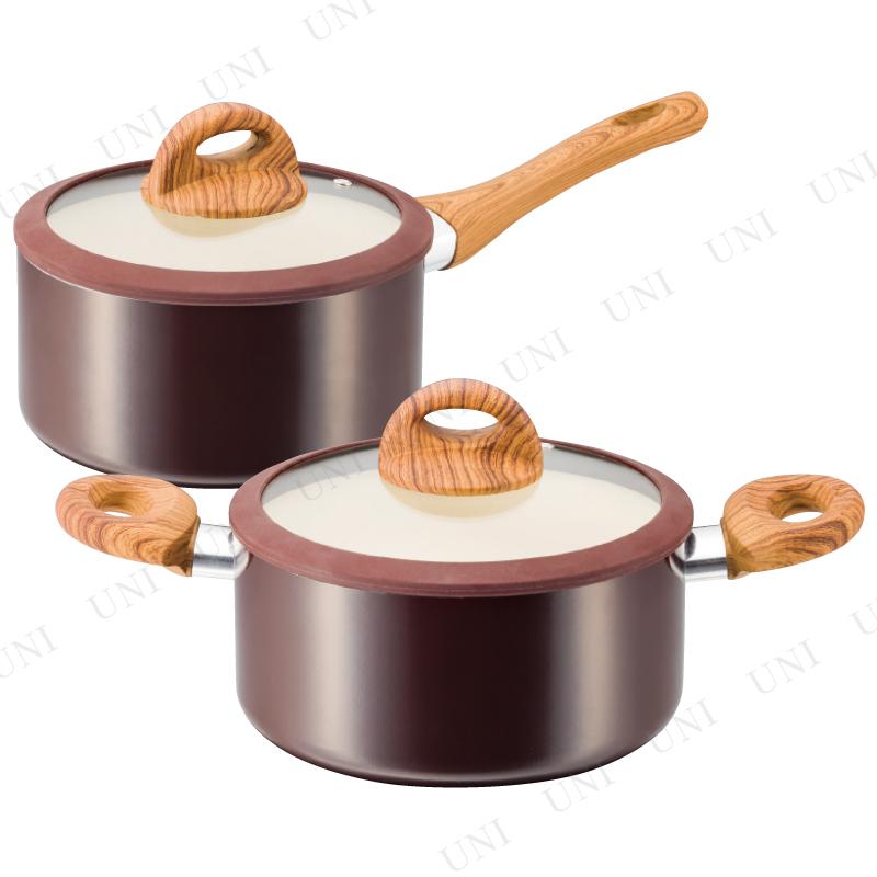 【取寄品】 木目調セラミックアルミ片手鍋18cm&両手鍋20cm