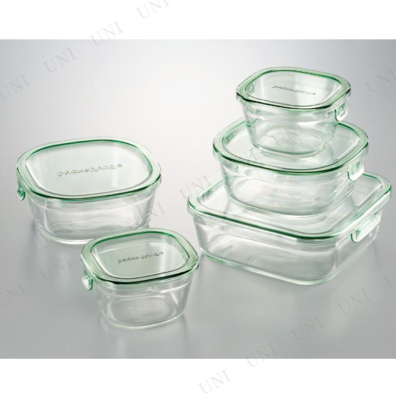 【取寄品】 パック&レンジ角型5点セット 耐熱ガラス
